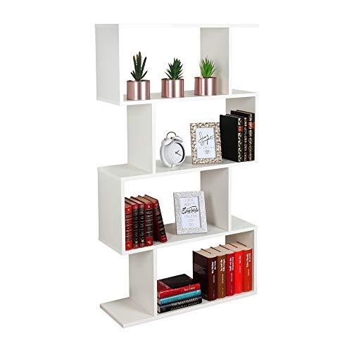 RICOO Standregal (WM071-WM) 129 x 70 x 25 cm Holzregal Weiß Matt Bücherregal Organizer Bücherschrank Raumteiler Pflanzenregal Wohnzimmer
