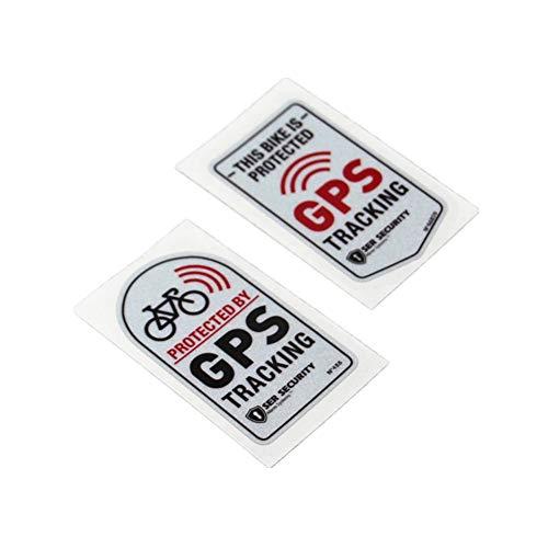 Langersun 2PCS Car Stickers Warning GPS Tracker Alarm Bike Protected Motorbike Bumper 7x4cm (C)