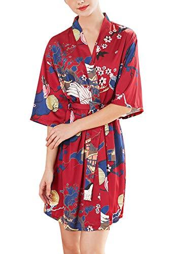 YAOMEI Mujer Vestido Kimono Satén, Camisón para Mujer, Sedoso Grua & Flores Robe Albornoz Dama de Honor Ropa de Dormir Pijama, Estilo Corto (M, Rojo A)