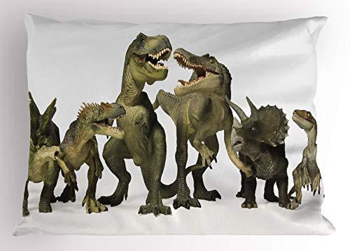 iksrgfvb Dinosaur with pillowcase Dinosaur Tyrannosaurus Rex theme d Style Dinosaur Fossil Art Design History Decoration Standard Size Print Pillow Case Pearl Army Green Khaki 45X45CM
