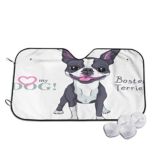 Parasol para Coche,Toro Sonriendo Perro Raza Boston Terrier Pie,Parabrisas de prevención de Calor Parasol Protector de Visera de Rayos UV 55'X29.9'