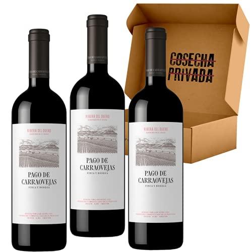 Pago de Carraovejas - Envío Gratis 24 H - 3 Botellas - Ribera del Duero - Estuche Regalo - Seleccionado y enviado por Cosecha Privada