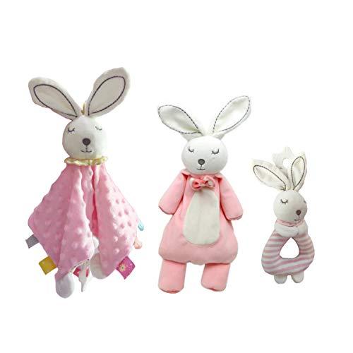 Couverture de sécurité pour bébé, poupée de lapin, Hochet - Soft Taggy Couverture avec Teether, Intéressant peluche Anneau Rattle, couverture enfant, rabbity Toy Set pour bébé