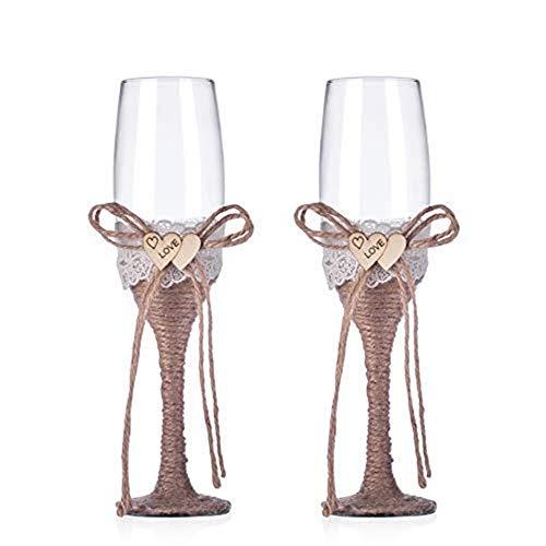 Gshy - Copas de champán rústicas para boda y novio, copas naturales, tela de yute...