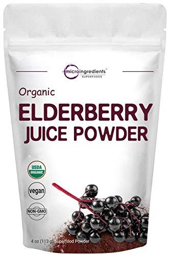 Certified Organic Elderberry Juice Powder, 4 Ounce, Rich in Immune...