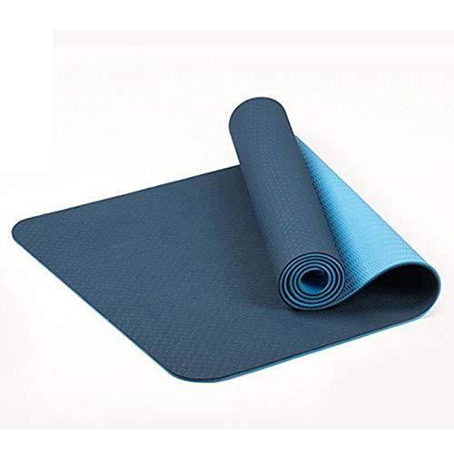 Cikuso 6Mm Esterilla de Yoga Antideslizante de Dos Colores TPE Estera Deportiva 183X61Cm Estera Sin Sabor de Fitness En Gimnasio Casa Azul
