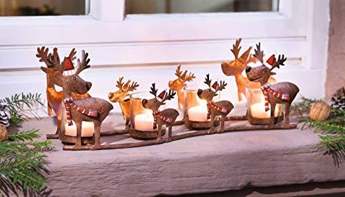 """Windlichtständer\""""Rentier-Familie\"""" aus Metall mit 4 Glas-Teelichthaltern, Adventsdekoration"""