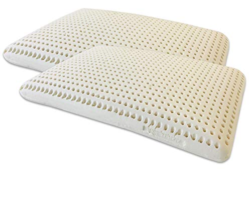 Marcapiuma - Pack de 2 Almohadas de Látex Natural Modelo Jabón 70x40 Almohada Látex Perforada - Funda 100% Algodón Lavable - Ergonómica Alivia Las tensiones cervicales - 100% Fabricadas en Italia