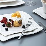 MALACASA, Serie Amparo, 60 TLG. Cremeweiß Porzellan Geschirrset Tafelservice mit Kaffeeservice, Dessertteller, Suppenteller und Flachteller für 12 Personen - 6
