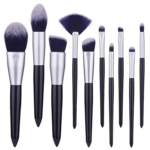 10 Pcs Ensemble Premium Synthétique Maquillage Pinceaux Bleu Foncé Pour Fondation Kabuki Blush Concealer Ombre À Paupières Brosse à maquillage XXYHYQ