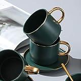 LIANG Green Ceramics Taza de café con leche de soja taza de desayuno taza de hueso fino de porcelana lindo vaso de té y platillo cuchara set