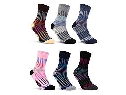 6 oder 12 Paar Damensocken Baumwolle Ringel Damen Socken Geringelt - E-808 (35-38, 6 Paar | Farbmix)