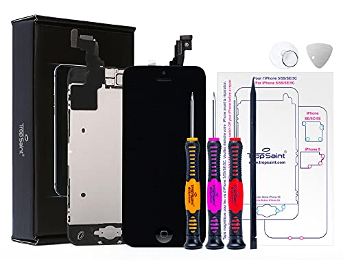 Trop Saint® Vetro Schermo Nero per iPhone 5C Ricambio Completo LCD Display - Kit di Riparazione con Istruzioni e Attrezzi