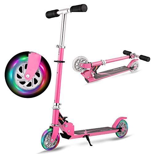 WeSkate Tretroller Kinderroller Verstellbare Kinderscooter Cityroller mit 2 Große Leuchträder, Klappbar Tragbar aus Aluminiumlegierung Roller für Kinder Jüngere Mädchen ab 3-12 Jahre bis 50KG