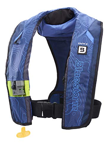 Bluestorm Gear Stratus 35 Inflatable PFD Life Jacket (Deep Blue)   US Coast Guard Approved Automatic/Manual Life Vest for Adults