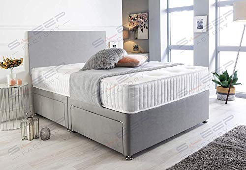 Sleep Factory's Grey Suede Memory Foam Divan Bed Set With Mattress And Headboard 3ft 4ft 4ft6 5ft 6ft Single Double Small UK King Super King (5.0FT (King Size), 2 Drawers Same Side)