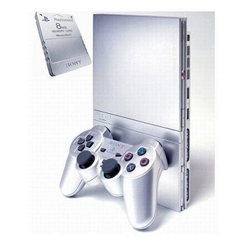 Playstation 2 - Konsole PS2 Slim Silber + Memorykarte 8MB silber