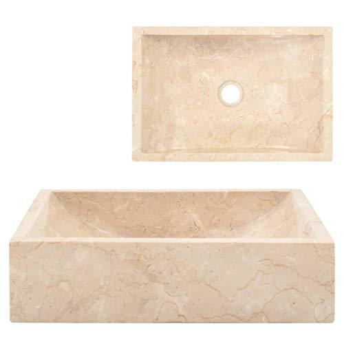vidaXL Lavandino con Foro di Scarico Rettangolare Classico Elegante Lavello Lavabo Arredo Bagno Sanitari 45x30x12 cm in Marmo Naturale Crema