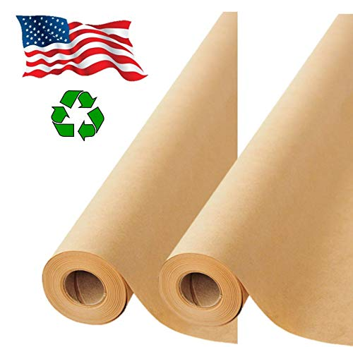 "2 Pack Brown Kraft Paper Made in USA 17.75"" x 1200"" Per Roll (200 feet)..."