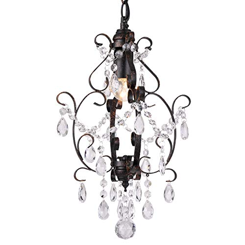 Riomasee Mini Chandelier Bronze Crystal Chandelier,1 Light Elegant Chandelier Crystal Iron Ceiling Light Fixture for Bathroom,Foyer,Bedroom,Girls Room