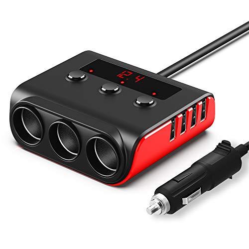 Auto Ladegerät Adapter, SONRU 3 Fach KFZ Zigarettenanzünder Verteiler mit 4 USB Ports, 120W 12V/24V DC Mehrfach Steckdose Splitter mit LED Voltmeter Getrennte Schalter für GPS/Dash Cam/Telefon