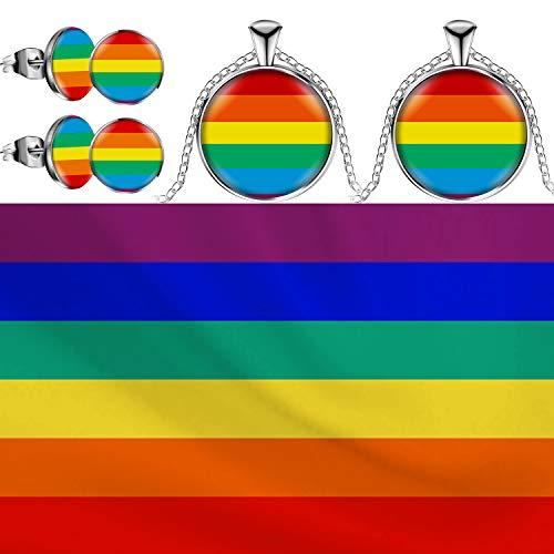 Bi Pride Flagge Regenbogen Fahne (3 x 5 Fuß) und 2 Paar LGBT Ohrring Regenbogen Ohrstecker Bi Stolz Edelstahl Ohrringe und 2 Stück Regenbogen Halsketten (Farbe B)
