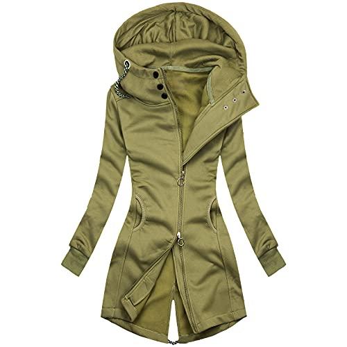 Chaqueta con capucha para mujer, cálida, de invierno, de gran tamaño, con cremallera, con cremallera, para exteriores, con bolsillos sólidos, amarillo, M