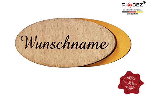 PISDEZ schönes Türzimmerschild Briefkastenschild mit Wunschgravur - Namensschild personalisiert mit Namen - Haustürschild mit schnörkel - rustikales Klingelschild aus Holz - Selbstklebend - Form 3