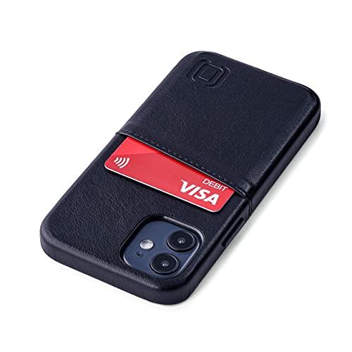 Dockem - Custodia a Portafoglio per iPhone 12 mini: Piastra Metallica Integrata per Montaggio Magnetico e 1 Porta Carte di Credito: Exec M2 da 5.4', in Pelle Sintetica Liscia (Nero)