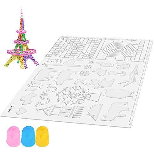 Gnvtntp 3D Pen Mat with 3D Drawing Stencils Basic Templates,16.5x11inch, Pack with Extra Gift 2 Silicone Finger Caps–Transparent 3D Printing Pen Mat for Kids & Adults STEM Activity