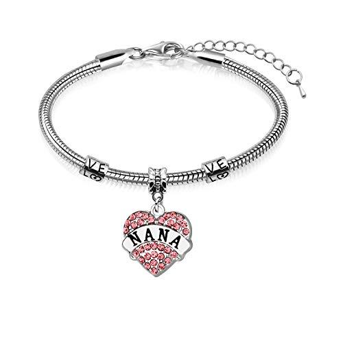 Awyuan Nana Heart Shape Snake Bracelet Bangle - Nana Pink Crystal Pendant - Best