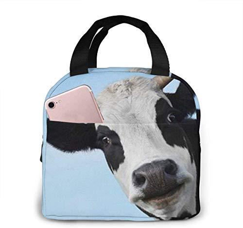 Bolsa de almuerzo con cara de vaca para mujeres,niñas,niños,bolsa de picnic aislada,bolsa gourmet,bolsa cálida para el trabajo escolar,oficina,camping,viajes,pesca