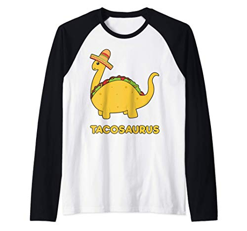 Cool & Funny Tacosaurus Taco Dinosaur Gift Tee Disfraz para Camiseta Manga Raglan