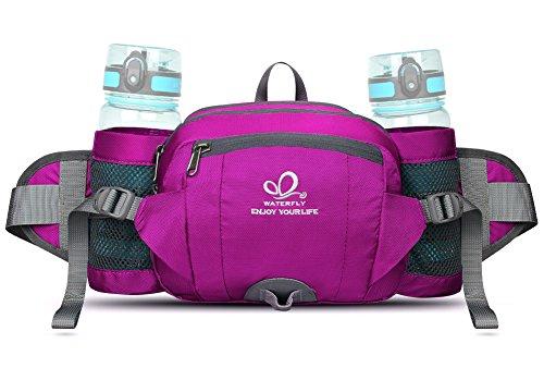 Waterfly Hüfttasche mit Flaschenhalter für Camping, Klettern, Reisen, Radfahren und Gassigehen, rose