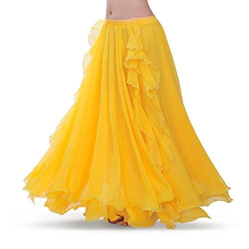 ROYAL SMEELA Women's Belly Dance Chiffon Skirt ATS Voile Maxi Full Dress Bellydance Skirts Yellow One Size