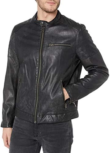 Tommy Hilfiger Men s Leather Motocross Racer Jacket with Quilted Shoulders Black Small product image