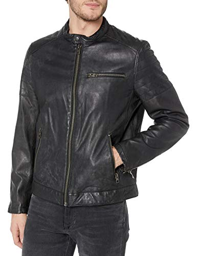 Tommy Hilfiger Men's Leather Motocross Racer Jacket with Quilted Shoulders, Black, XX-Large