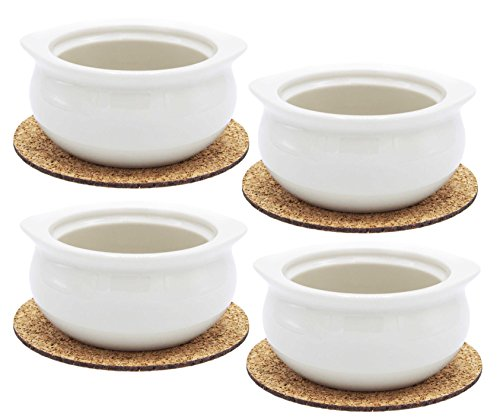Ecodesign Bowls - Set of 4 - Premium French Onion Soup Bowls - Off-White - 300 ml (10.5 Ounce) with the Cork Coasters – Porcelain Classic European Style Healthy Portion Crocks – Oven/Microwave safe