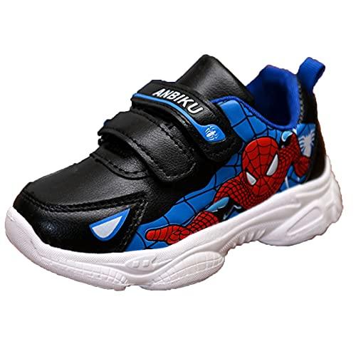 HAOYUXIN Zapatillas de Deporte Spiderman para niños, Impermeables, Transpirables, con Gancho y Bucle, Zapatos Individuales Casuales,Blue-31EU