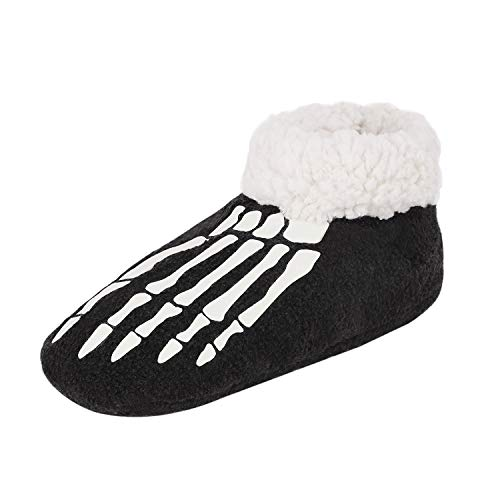 Women Skull Slipper Fuzzy Plush Moccasin Slipper Boots Socks Breathable Ankle Boot Warm Shoes Memory Foam Bootie Cozy Bottom Footwear for Bedroom Home House Indoor Outdoor Winter Black