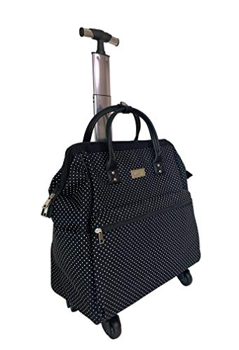 """Ritsy 20"""" Computer Laptop Tote Rolling Wheel Case Luggage Carry-on Purse Bag'Marbled White' (White on Black Polka Dots)"""