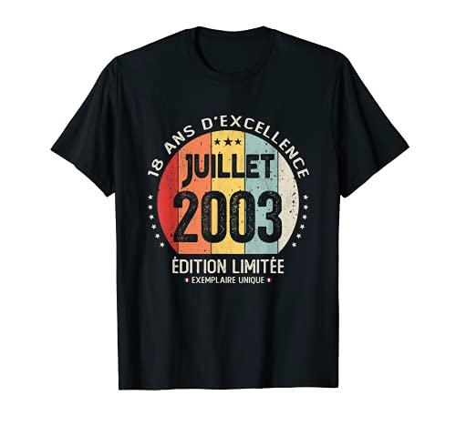18 ans Anniversaire Cadeau 18 ans Juillet 2003 Garçon Fille T-Shirt