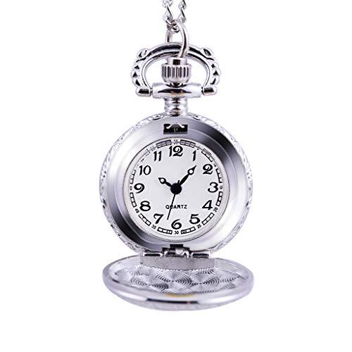 Weimingshop Reloj de Bolsillo Reloj de Bolsillo Relojes para Hombres y de Damas Personalidad Retro Reloj de Bolsillo Grande Grabado Reloj de Bolsillo de Cuarzo Grabado Reloj de Bolsillo de Cuarzo