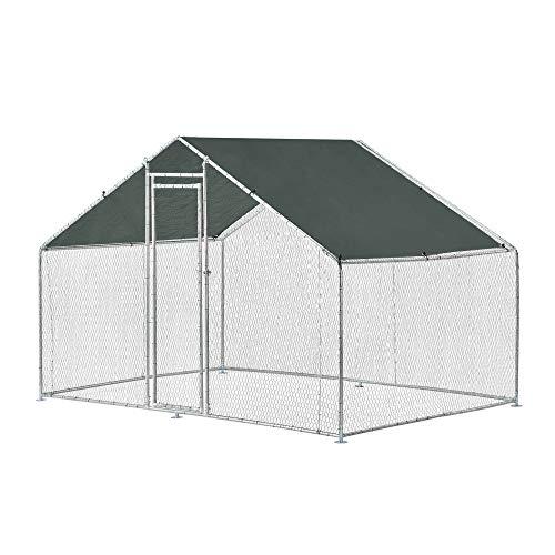 [pro.tec] Jaula al Aire Libre 3 x 2 x 2 m Voladero para Aves Jaula Gallinero de Exterior con Tejado Casa de Animales pequeños Color Plata y Verde Oscuro