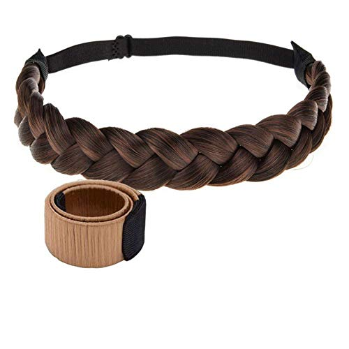 Winopey 3 Strands Synthetic Hair braided Headband Classic Chunky Plaited Elastic Stretch Hairpiece braid headband - Lady makeup headwear (Color 15A16B)