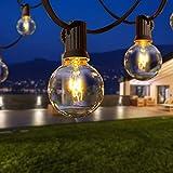 Qxmcov Catena di luci per esterni, 9,5 m,25 lampadine con 4 lampadine di ricambio,colore bianco caldo,impermeabile G40, per casa,giardino,patio,feste,matrimoni,terrazze e interni
