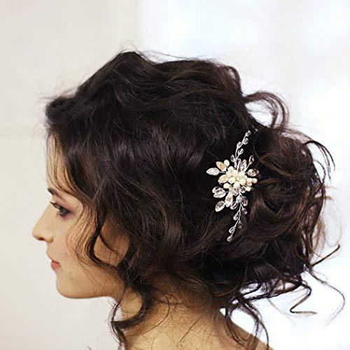 Unicra Novia Boda Cristalino Horquillas para el cabello Nupciales Tocados de boda Piezas de cabello Accesorios para mujeres y niñas (plata)