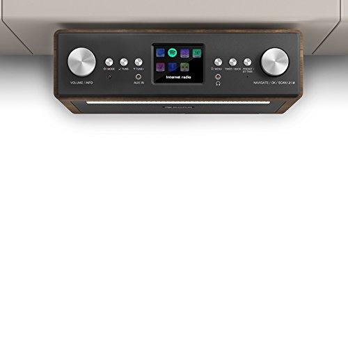 auna Connect Soundchef - Radio Internet, Radio da cucina, Radio digitale sotto-base, DAB +, FM, 2 prese da 3', 10 stazioni preimpostate, telecomando incluso, Noce