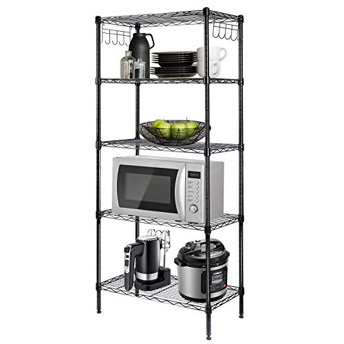LEHOM 5Wire Shelving Metal Storage Shelves Adjustable Shelf with Stainless Side Hooks amp Adjustable Leveling Feet for Laundry Bathroom Kitchen Pantry 220 LBS Capacity 2363quotL×1378quotW×591quotH Black…