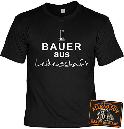 Tini - Shirts Landwirt/Bauern Sprüche-Motiv T-Shirt - Blechschild Deko Landwirtschaft : Bauer aus Leidenschaft & Allrad SUV - Schild Bauernhof/Traktor/Stall Gr: M